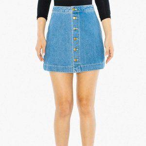 AA Denim Button Front A-Line Mini Skirt size M